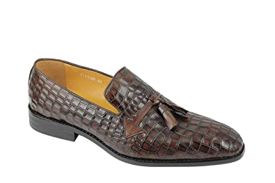 c959cc6d424 Xposed Mens Vintage Brown Real Leather Tassel Loafers Polished Crocodile  Print Formal Slip on Shoes