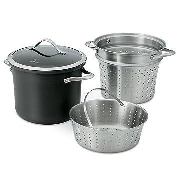 Calphalon Contemporary antiadherente de aluminio anodizado utensilios de cocina, olla para pasta con accesorio para cocción al vapor, 8-quart, ...