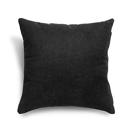SuenosZzz- COJIN Relleno. Cojines Decoracion, Sofa,Cama, tapizado Acualine Antimanchas Negro. Medidas: 48x48. Decoracion CASA.