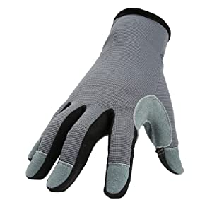 Working Gloves with Genuine Deerskin Leather Palm and Sensitive Touch Screen Fingertips - Breathable and Snug-fit for Work, Gardening, DIY, Mechanics - Women and Men (Gray,Small)