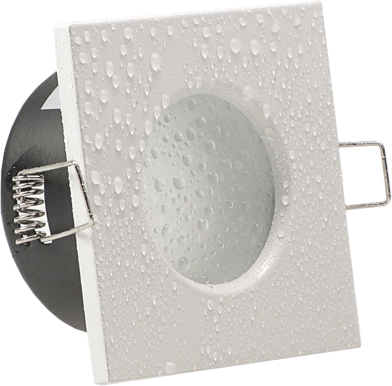 AQUA BASE IP65 1er Set ultra flach LED 5W = 50W 230V Decken Einbaustrahler eckig Wei/ß Neutralweiss 4000k nur 50 mm Einbautiefe Bad Feuchtraum Einbauleuchte quadratisch
