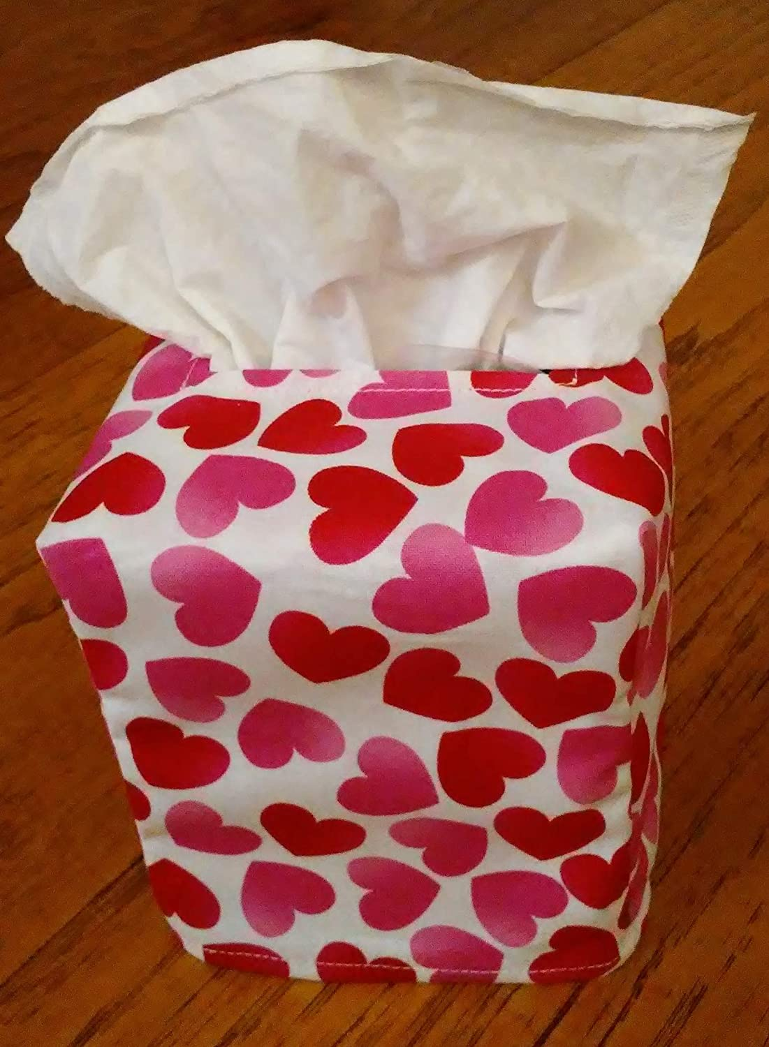 Red And Pink Hearts On White Fabric Square Tissue Box Cover