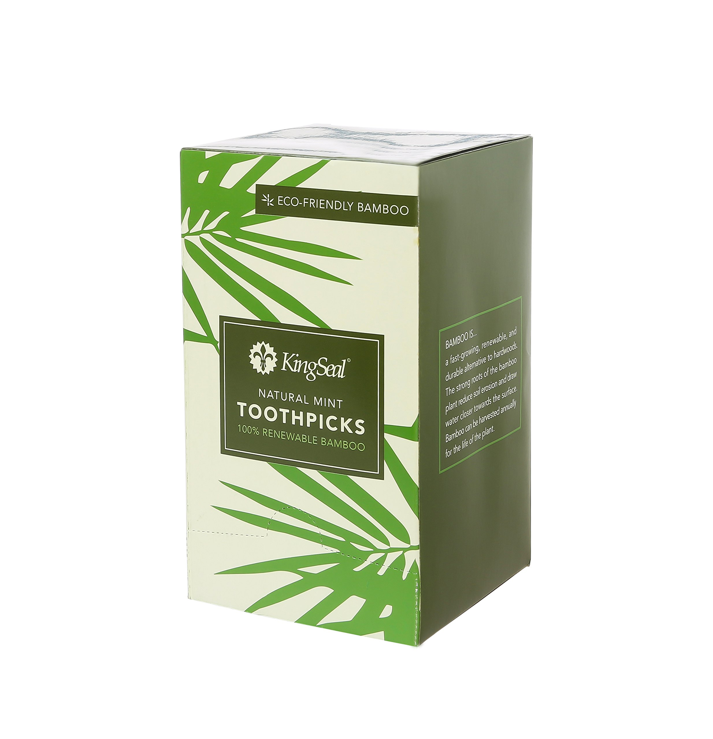 KingSeal 2.5 Inch Individually Paper Wrapped Mint Flavored Bamboo Toothpicks - 4 Pack/1000 per Pack, 100% Renewable