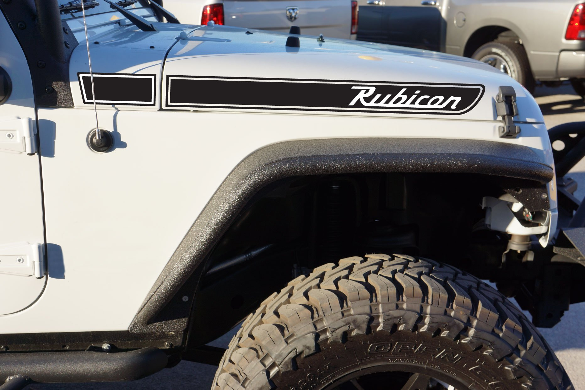 The Pixel Hut gs00092 Matt Black Rubicon Retro Hood Decals for Jeep Wrangler JK (2007-2018)