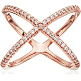"""Rose Gold Plated Sterling Silver Made with Swarovski Zirconia Criss Cross Single """"X"""" Ring"""