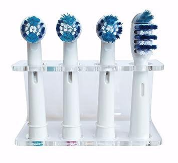 Seemii - Soporte para cabezales de cepillo de dientes electrónico, Soporta 2 ó 4 cabezales, Soporte Oral-B cabezales, Transparente (4): Amazon.es: Hogar