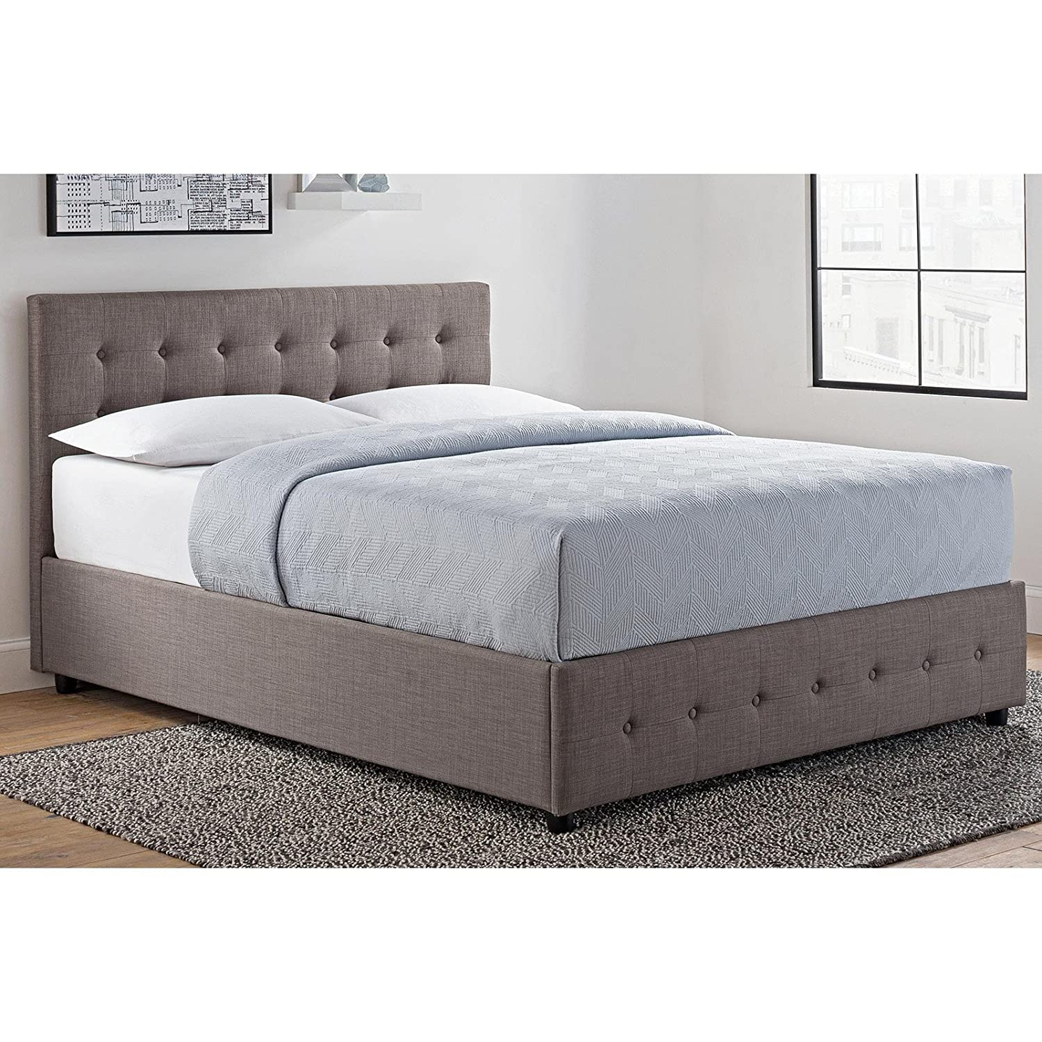 Amazoncom Upholstered Bed With Storage Under Bed Space Storage