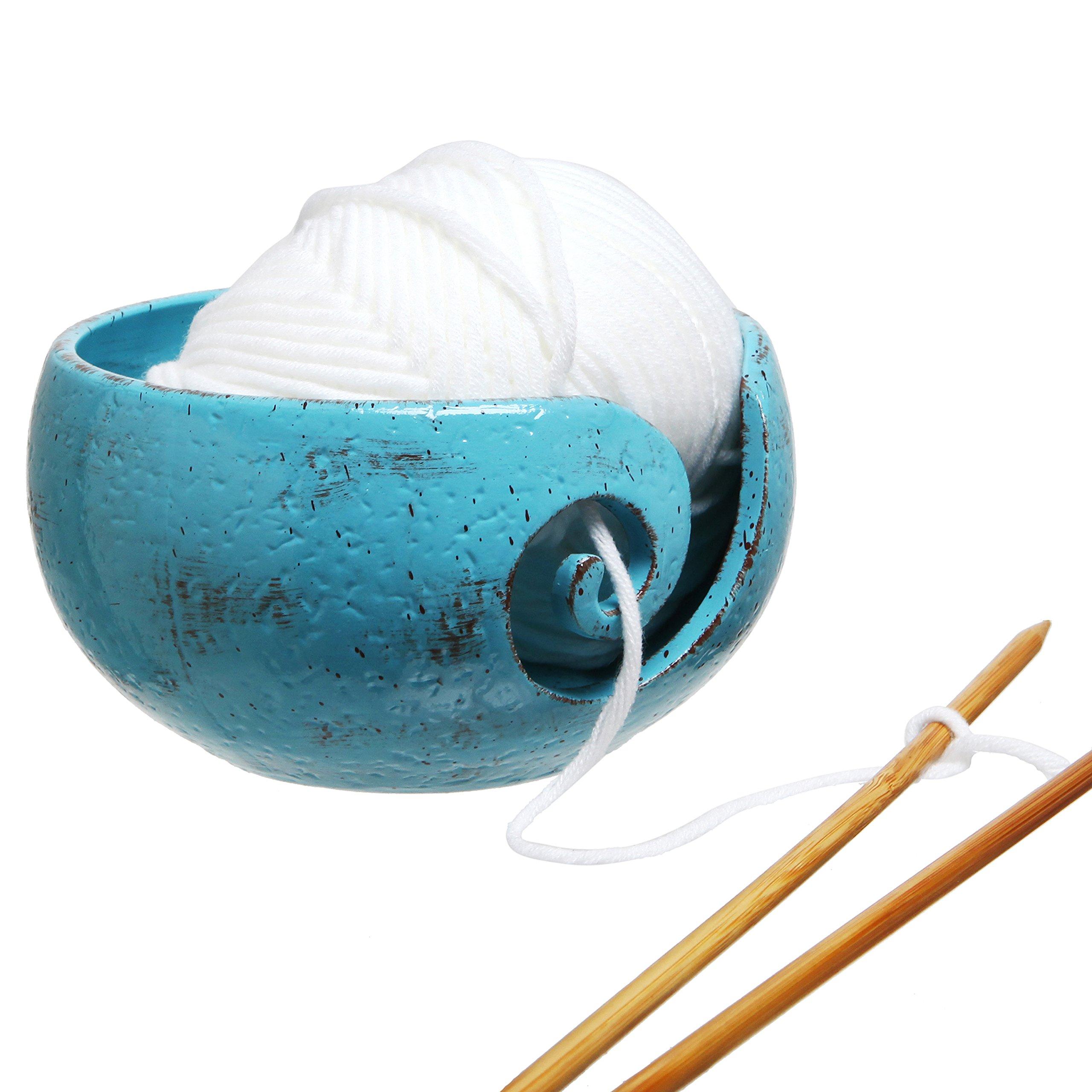 Rustic Handcrafted Ceramic Knitting Yarn Bowl Holder with Elegant Swirl Design, Turquoise