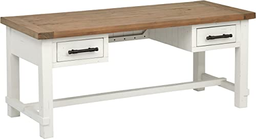 Stone Beam Barrett Reclaimed Wood 2-Tone Desk, 71 W, White, Sandstone