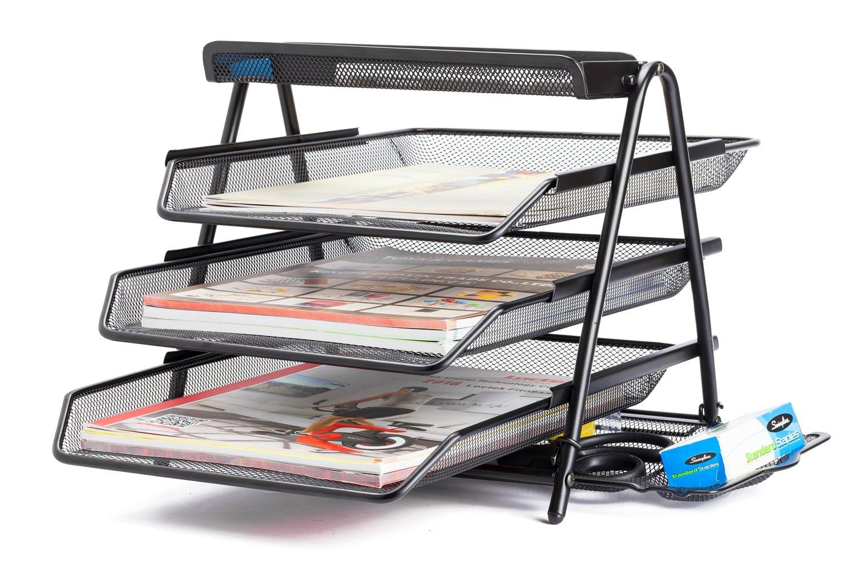 Halter Schreibtisch-Briefablage, 3 Fächer, Dokumente, Stahlgeflecht, Brief-Größe, Schwarz 3 Fächer 3TFT