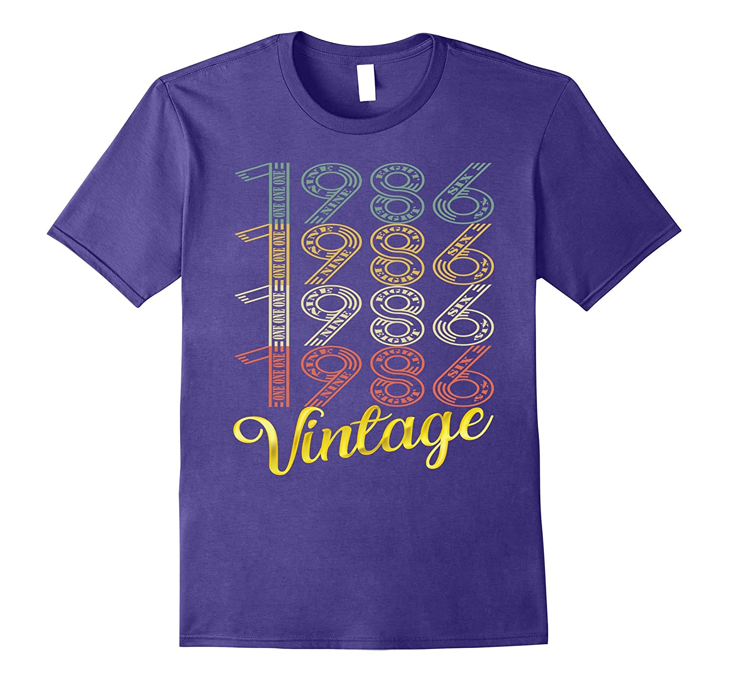 Vintage 1986 Gold 31 Years Old Fun 31st Birthday Shirt Gifts-FL