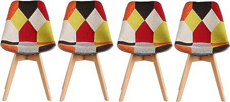 Set 2 Sedie, Patchwork Terra Maurys Sedie in Legno e Tessuto Patchwork Ideali per Sala da Pranzo Cucina Ufficio