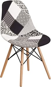 Flash Furniture Elon Series Turin Patchwork Fabric Chair with Wooden Legs