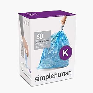 simplehuman Code K Custom Fit Drawstring Trash Bags, 35-45 Liter / 9-12 Gallon, Blue, 60 Count