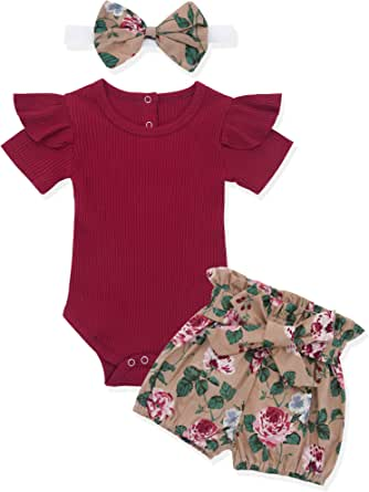 Newborn Baby Girl Clothes Flare Sleeve Romper + Floral Short Pants 2pcs Summer Winter Outfit Set
