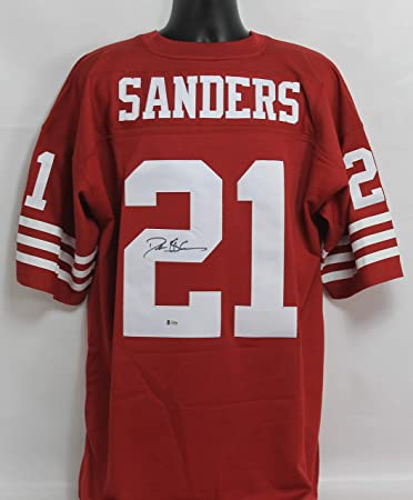 ced58f114 Deion Sanders Autographed San Francisco 49ers Red Mitchell   Ness Jersey  w Beckett COA