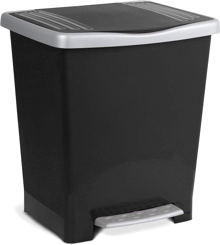Tatay Millenium Cubo de Basura con Apertura Automática a Pedal o Manual, Capacidad 25 L, Fabricado en Plástico Polipropileno. Medidas 33,5 x 30 x 39 cm (L x An x Al). Color Negro.