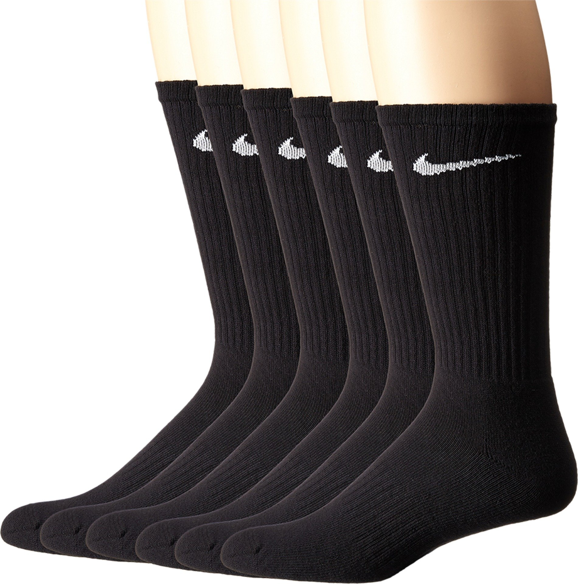 NIKE Unisex Performance Cushion Crew Socks with Band (6 Pairs), Black/White, Large