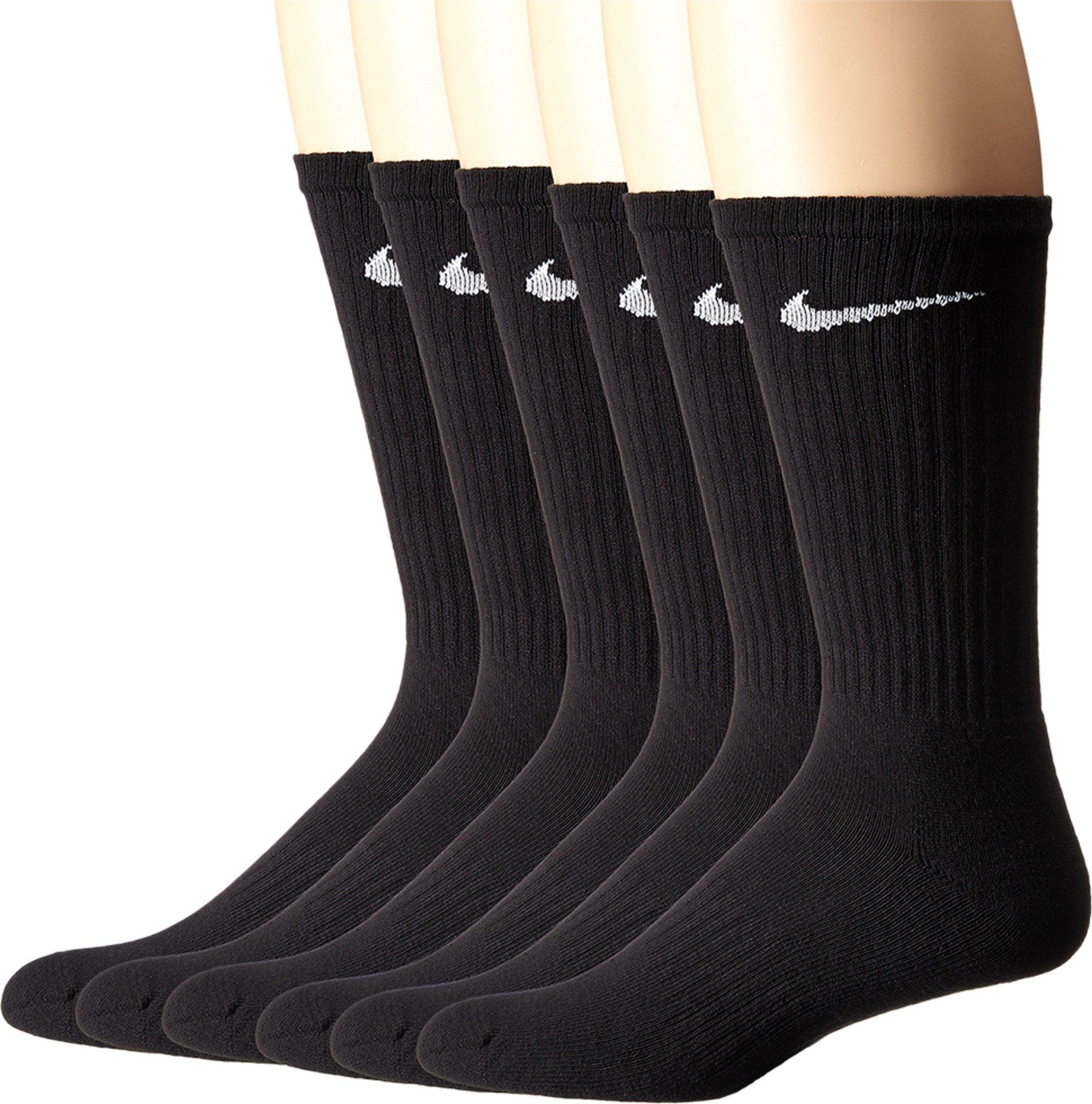 NIKE Unisex Performance Cushion Crew Socks with Band (6 Pairs), Black/White, Large by NIKE