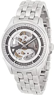 Hamilton Mens Jazzmaster Swiss-Automatic Watch with Stainless-Steel Strap, Silver, 20