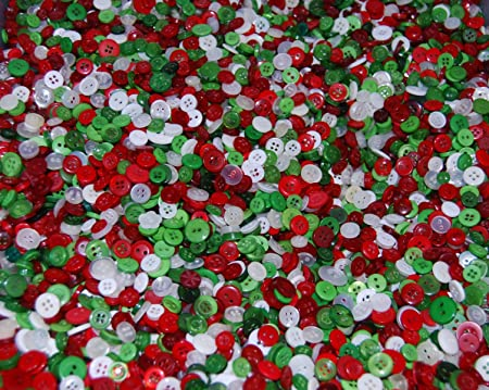 Tiny Christmas.Celloexpress Pack Of 250g Tiny Christmas Mix Mixed Small Sizes Various Green Red And White Buttons For Sewing And Crafting