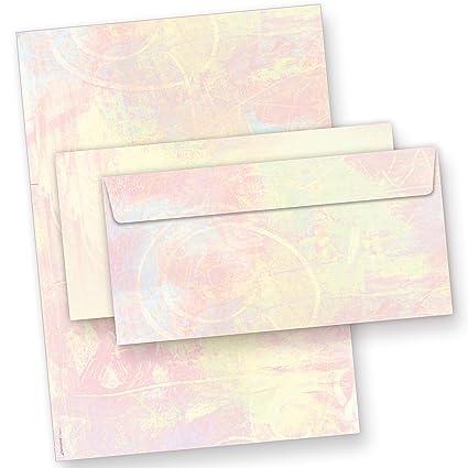 25 Briefumschläge DIN lang Briefpapierset pink 25 Blatt Briefpapier
