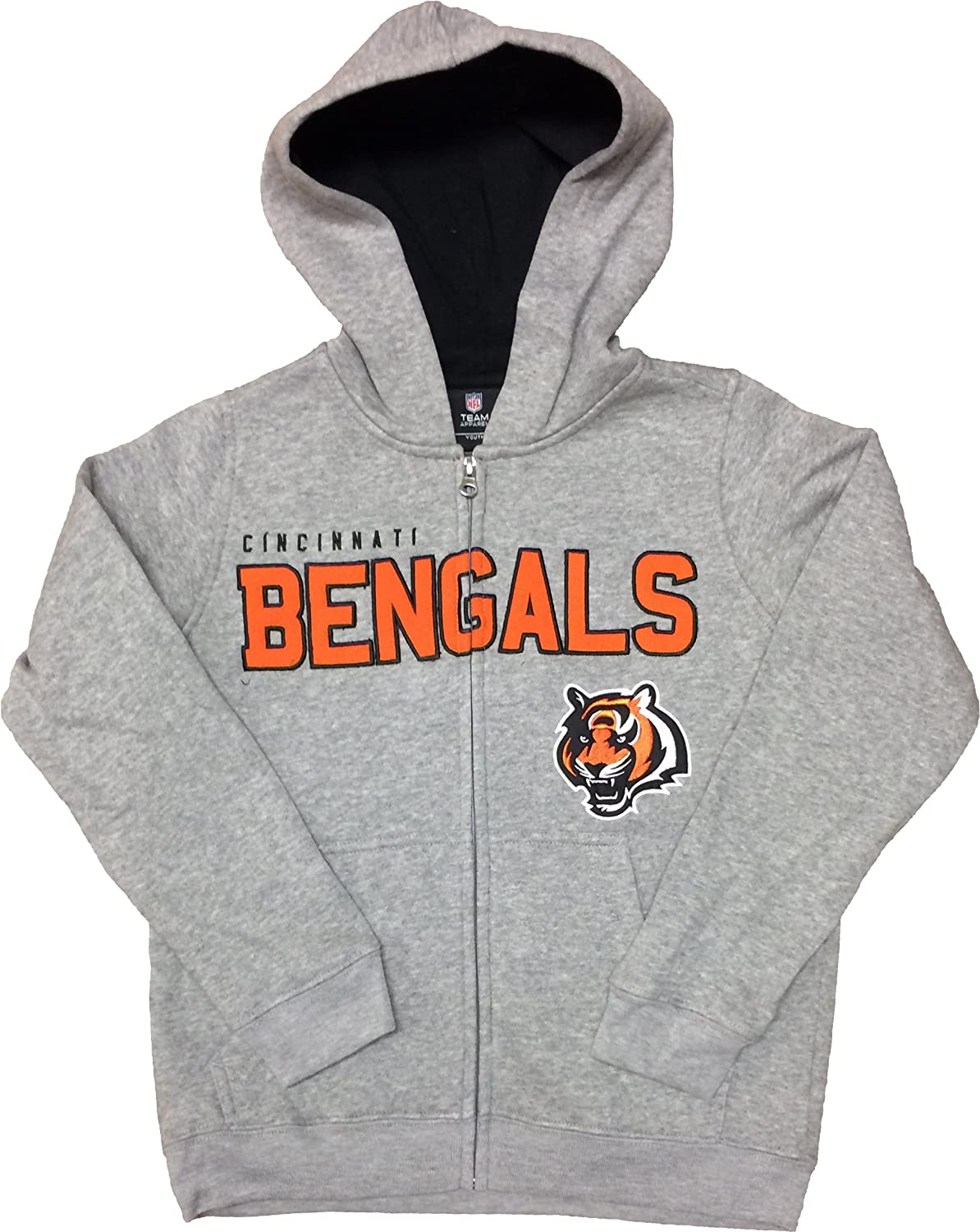 Small Logo OTS NFL Cincinnati Bengals Womens Fleece Full-Zip Hoodie
