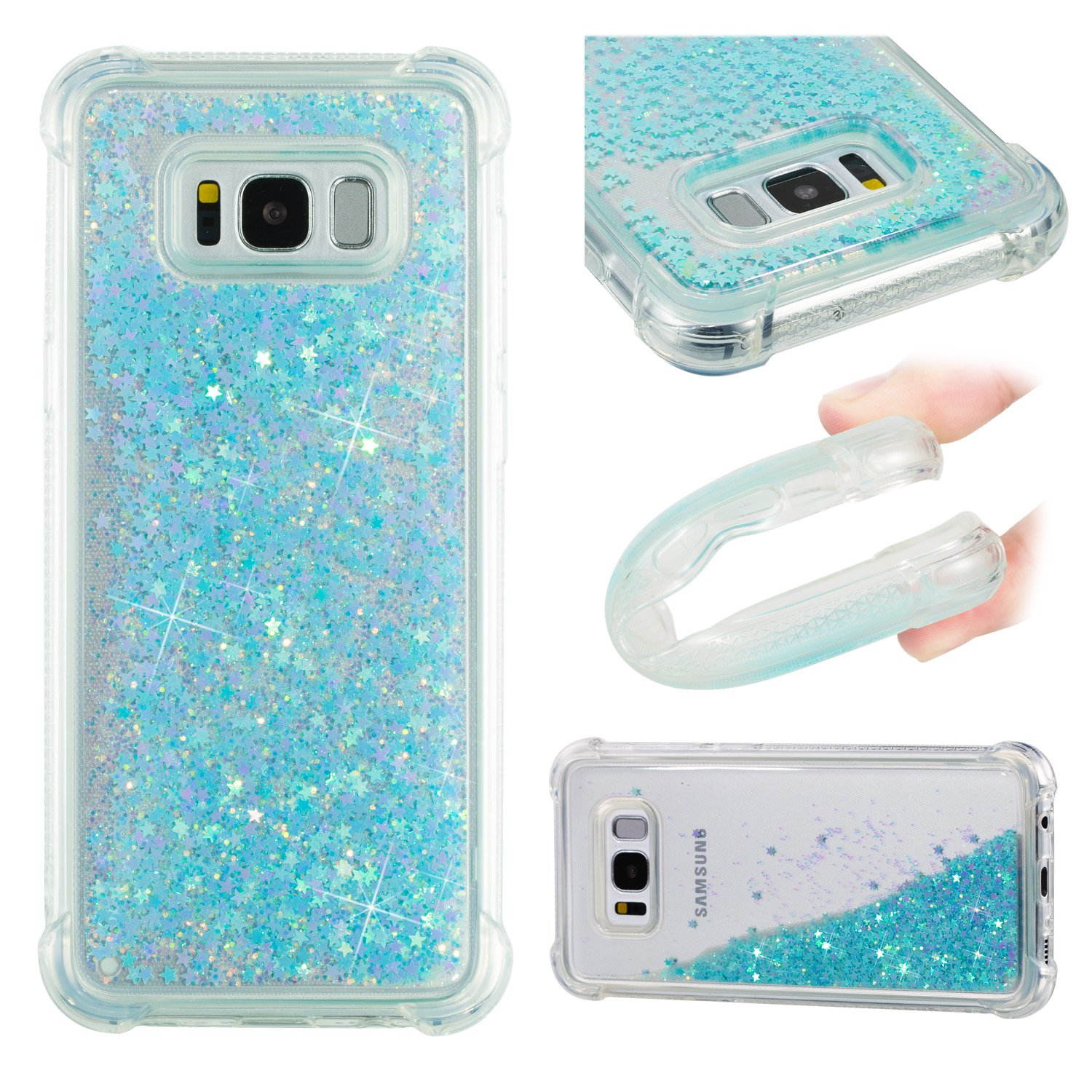 Galaxy S8 Case For Plusmerkuyom Floating Liquid Asoftcase Plus Hard Tpu Transparent Flowing 3d Bling Sparkling Glitter Cover Samsung