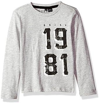 621d3ac59 GUESS Boys' Little Long Sleeve 1981 T-Shirt, Light Heather Grey, ...