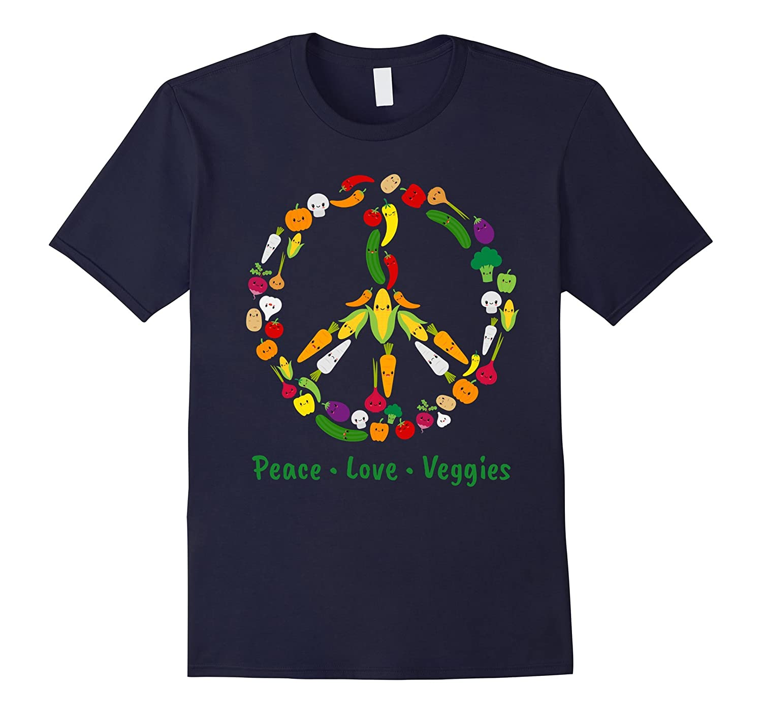Cute Kawaii Vegetable Veggie Peace Sign  Vegan T Shirt-TD