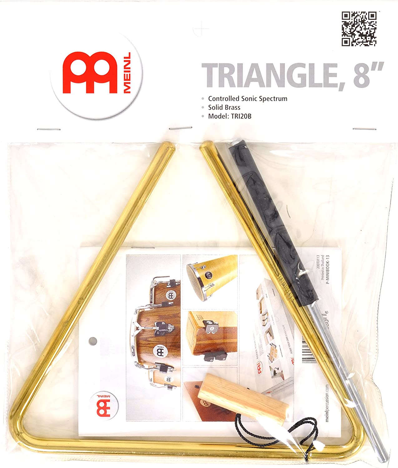 Meinl Percussion TRI20B 8-Inch Solid Brass Triangle with Metal Beater