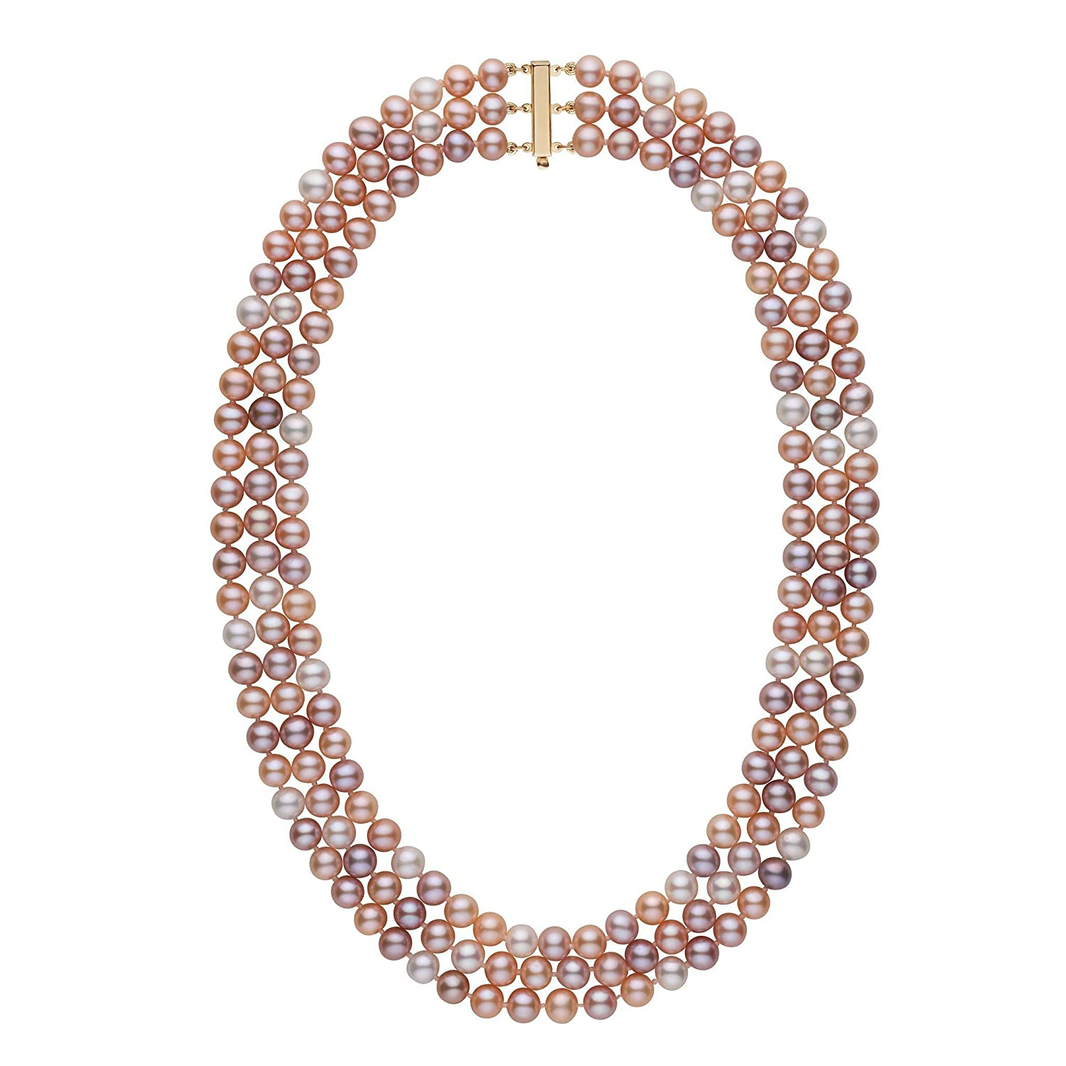 6.5-7.0 mm Triple-Strand AA Multicolor Freshwater Cultured Pearl Necklace