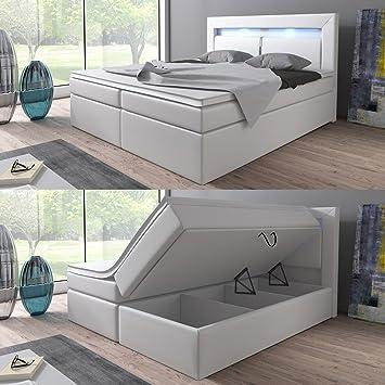 Boxspringbett weiß mit bettkasten  Boxspringbett 160x200 Weiß mit Bettkasten LED Kopflicht Hotelbett ...
