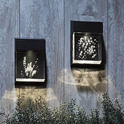 Solar Outdoor Wall Lights - 2 Sconces with Clear Acrylic Bubble Diffusers, Cool White LED Light, Waterproof, Dusk to Dawn Sensor, Batteries Included