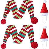 4 bufandas de Navidad para perro y gato, gorro de Papá Noel, 2 bufandas a rayas y 2 gorros de Navidad para mascotas de Papá N