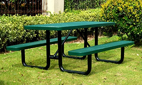 Lifeyard 6 Rectangular Picnic Table, Expanded Metal, Green 72 Long