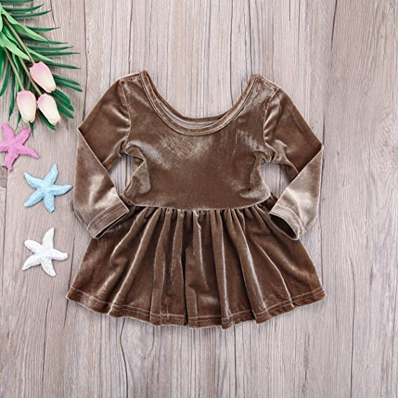 dfafe2dea27 Amazon.com  Infant Toddler Baby Girl Velvet Long Sleeve Mini Dress Warm Christmas  Outfit Clothes  Clothing
