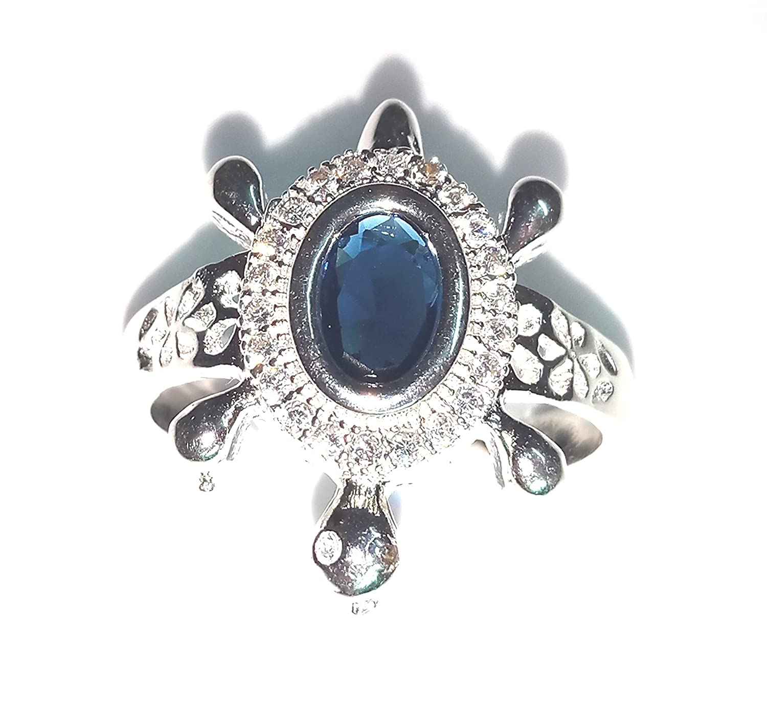 a96a42d433349 Buy PURE SILVER TORTOISE RING (with royal blue stone) Online at Low ...