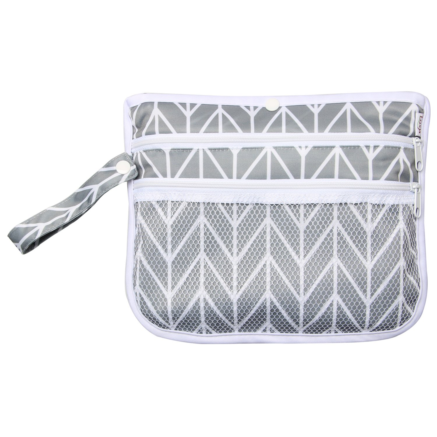 Foldable and Waterproof Luxja Portable Diaper Changing Pad Baby Changing Mat Travel Changing Pad Cover Gray Chevron