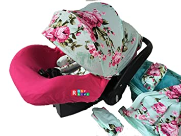 Amazon Com 9pc Baby Girl Ultimate Set Of Infant Car Seat Cover
