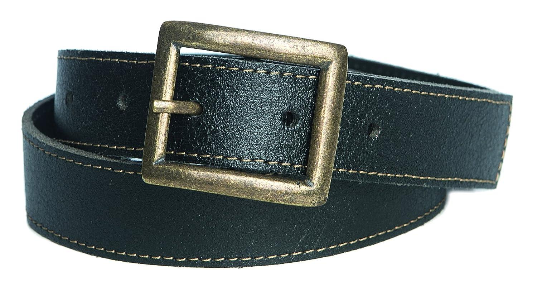Trachten Ledergürtel Jungen Gürtel abgesteppt Rindsleder Eindornschnalle 30mm schwarz : )