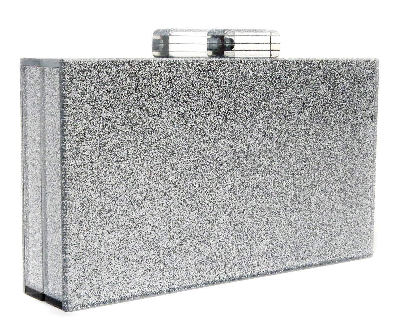 BG-713-G01 Box Clutch Chain Hard Case Crossbody Purse Evening Bag-Silver Glitter