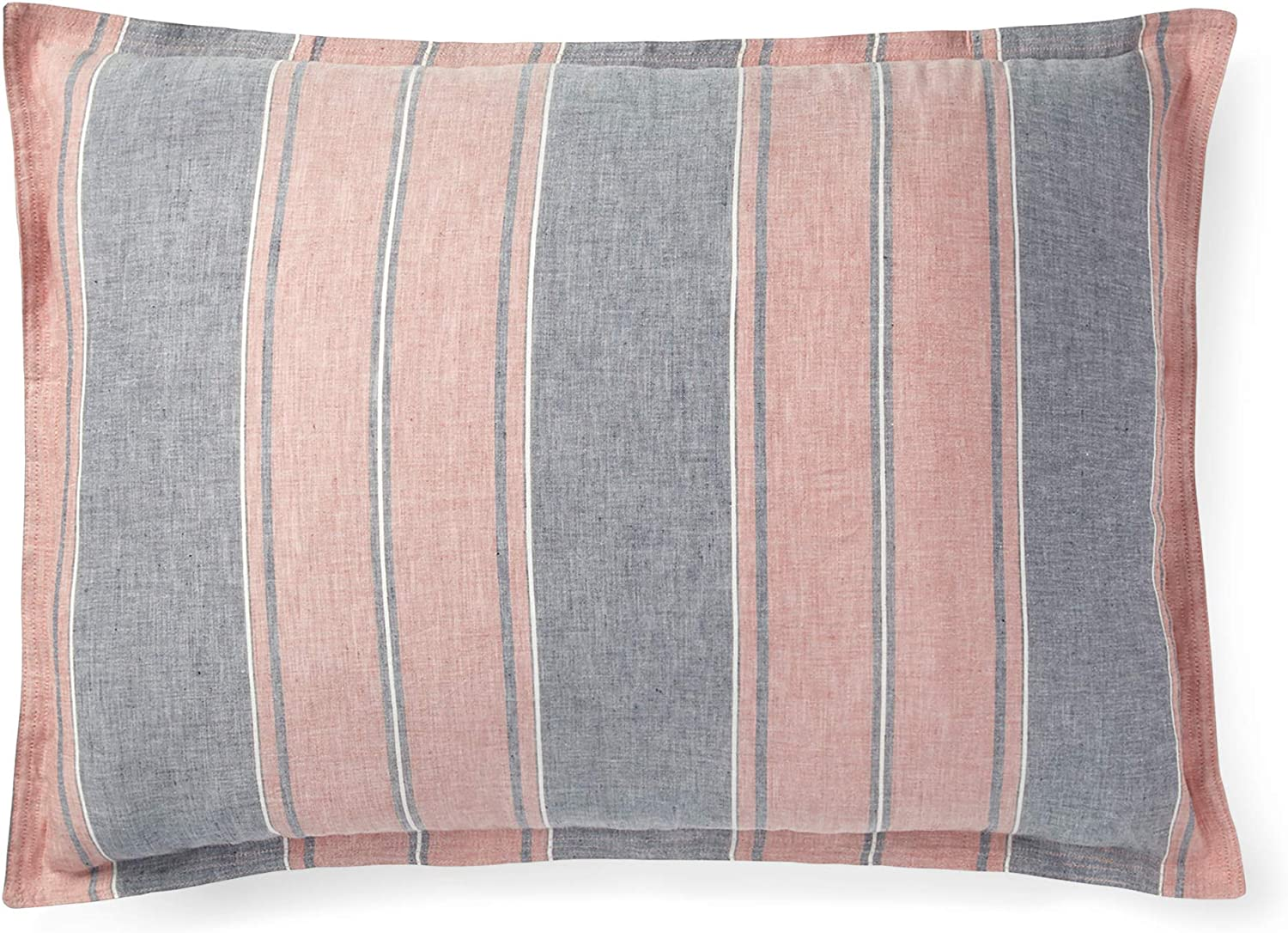 RALPH LAUREN King Striped Pillow Sham Oakview Blue and Red Made in Portugal
