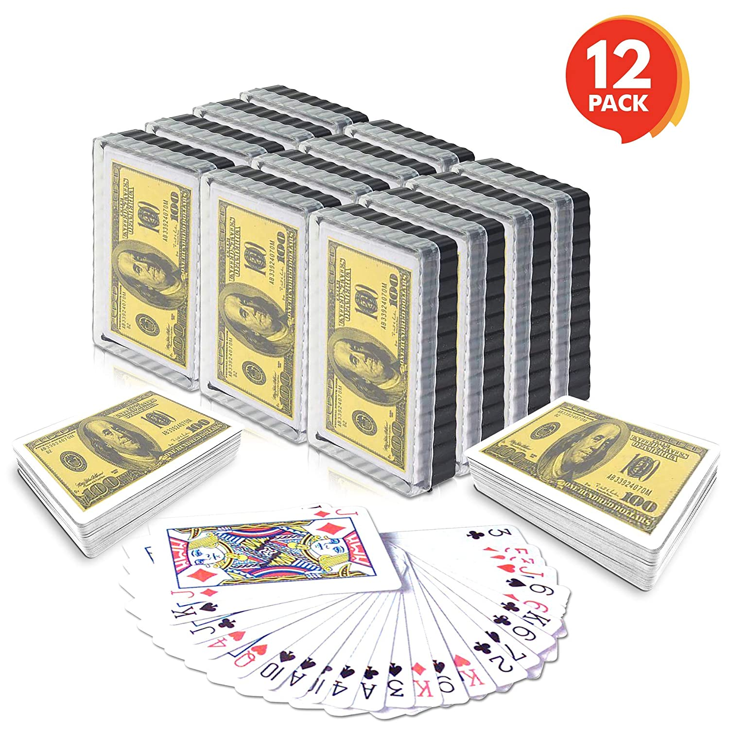 Adults Kids Game Cards for Poker Gamie $100 Bill Playing Cards | Individually Shrink Wrapped Pack of 12 Decks Birthday Party Favor for Girls and Boys//Great Gift Idea