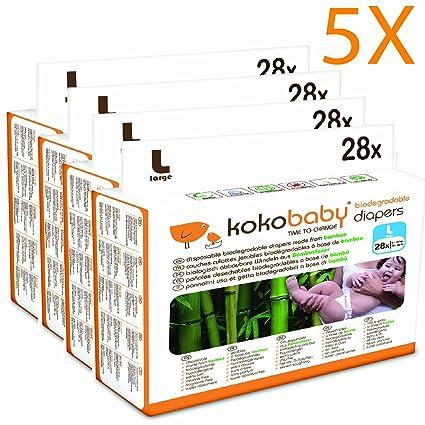 """Kokobaby pañales ecológicos de bambú sin cloro """"L"""". Talla 4 (9"""