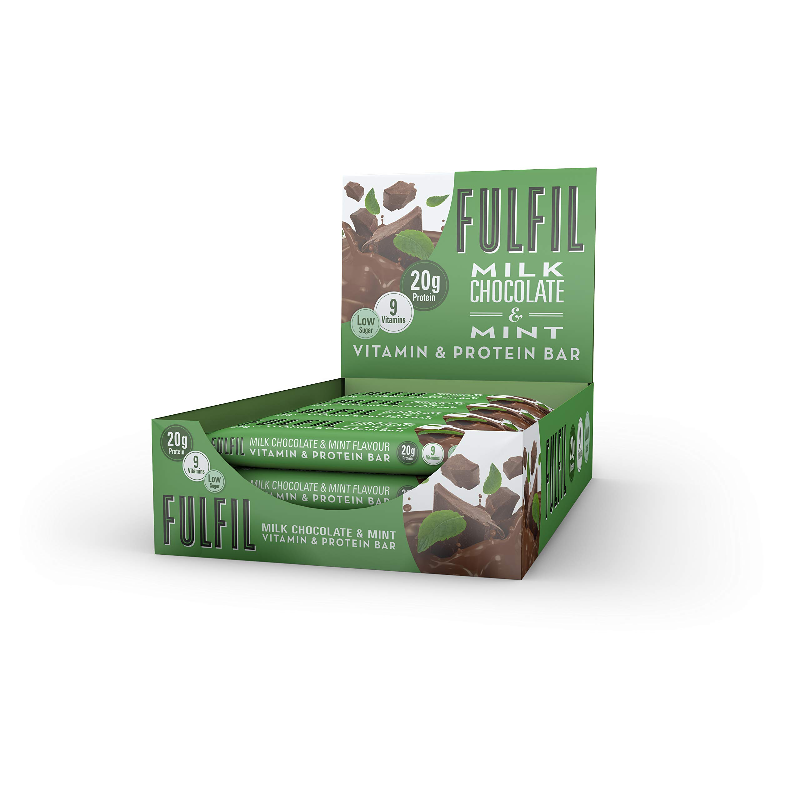 Fulfil Milk Chocolate & Mint Vitamin and Protein Bar - Pack of 15 by Fulfil