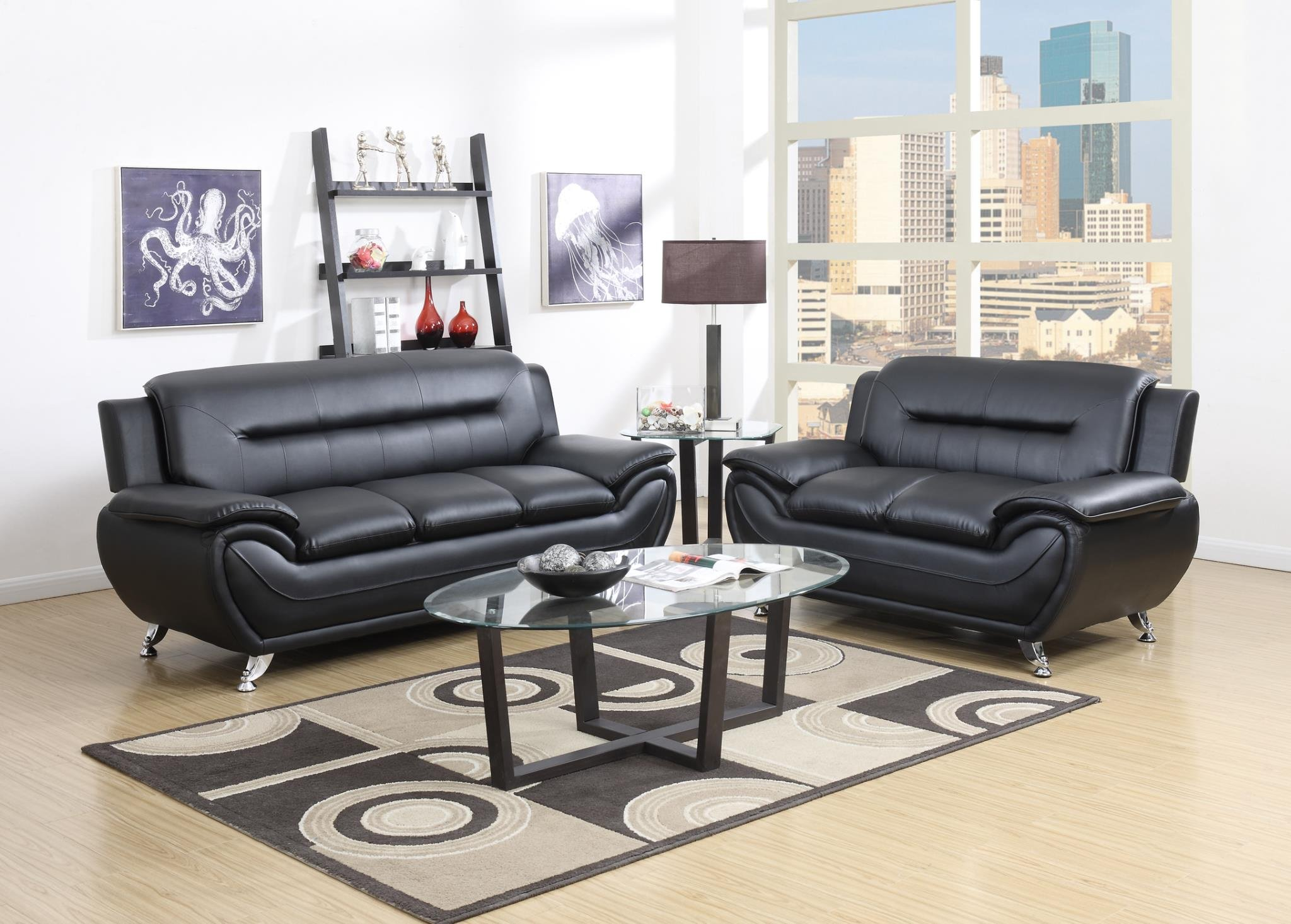 GTU Furniture Contemporary Bonded Leather Sofa & Loveseat Set, 2 Piece Sofa Set (BLACK) by GTU Furniture