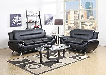 GTU Furniture Contemporary Bonded Leather Sofa U0026 Loveseat Set, 2 Piece Sofa  Set (BLACK