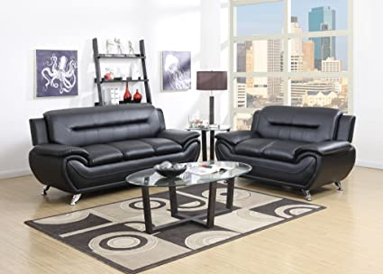 Etonnant GTU Furniture Contemporary Bonded Leather Sofa U0026 Loveseat Set, 2 Piece Sofa  Set (BLACK