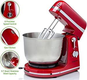 Ovente Electric Stand Mixer with 3.7 Quart Stainless Steel Mixing Bowl and 6 Mixing Speed, 300 Watts Powerful Motor for Easy Professional Whipping, Mixing, and Kneading, Red (SM880RI)